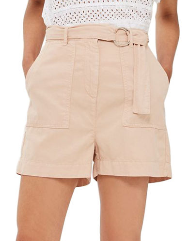 Topshop Washed D-Ring Shorts-PINK-UK 8/US 4