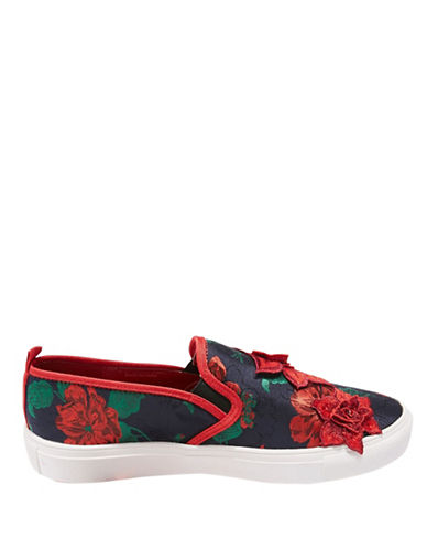 Topshop Tessa Embroidered Slip-On Shoes-RED-EU 40/US 9.5