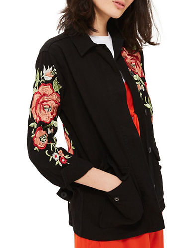Topshop Floral Embroidered Shacket-BLACK-UK 10/US 6