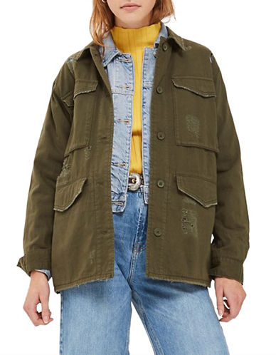 Topshop Ripped Shacket-KHAKI-UK 12/US 8