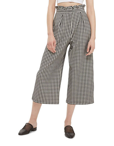 Topshop Ruffle Trim Gingham Trousers-MONOCHROME-UK 6/US 2
