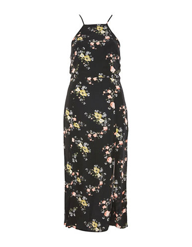 Topshop Floral-Printed Midi Dress-BLACK-UK 8/US 4