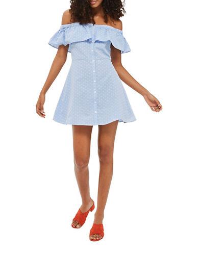 Topshop Spot Dobby Button Bardot Dress-LIGHT BLUE-UK 8/US 4