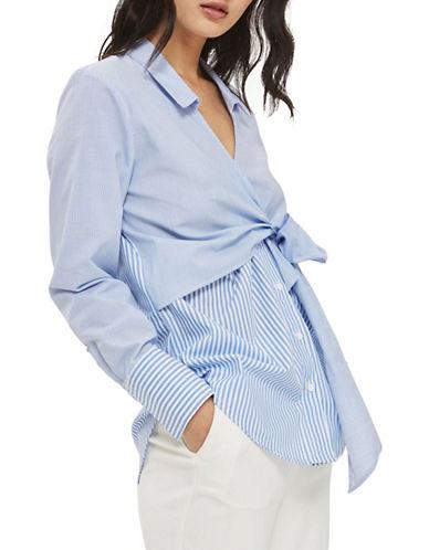 Topshop Tie Wrap Poplin Shirt-LIGHT BLUE-UK 8/US 4