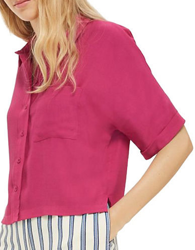 Topshop Kady Roll-Tab Blouse-BRIGHT PINK-UK 14/US 10