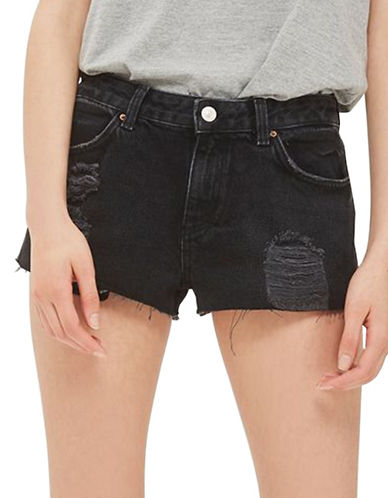 Topshop MOTO Cory Denim Shorts-WASHED BLACK-UK 12/US 8