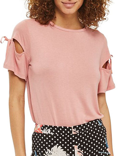 Topshop Ribbon Sleeve T-Shirt-PINK-UK 8/US 4