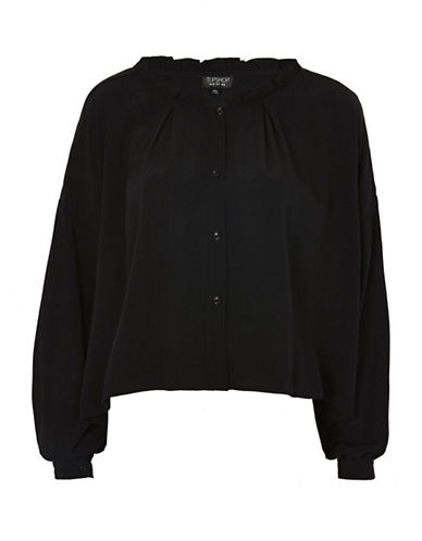 Topshop Frill Neck Shirt-BLACK-UK 10/US 6