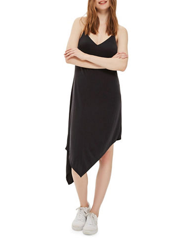 Topshop Asymmetric Hem Slip Dress-BLACK-UK 6/US 2