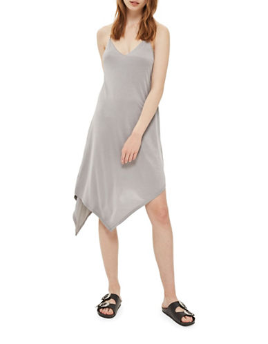 Topshop Asymmetric Hem Slip Dress-GREY-UK 14/US 10