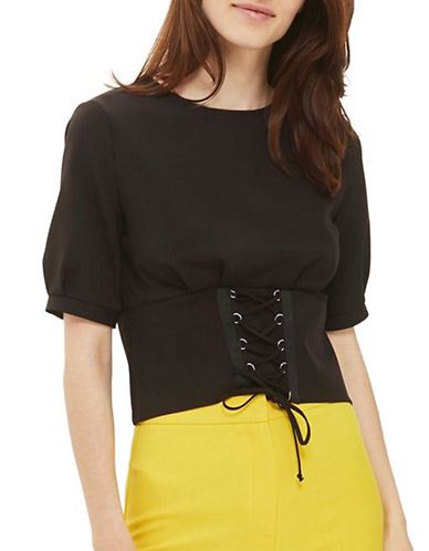 Topshop Corset T-Shirt-BLACK-UK 10/US 6