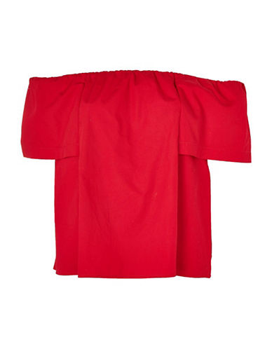 Topshop Poplin Bardot Top-RED-UK 12/US 8
