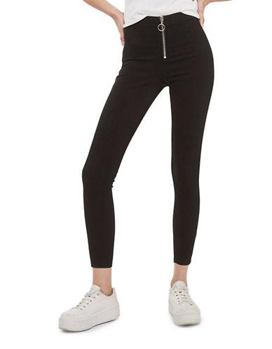 Topshop PETITE Zip-Front Joni Jeans 28-Inch Leg-BLACK-26X28