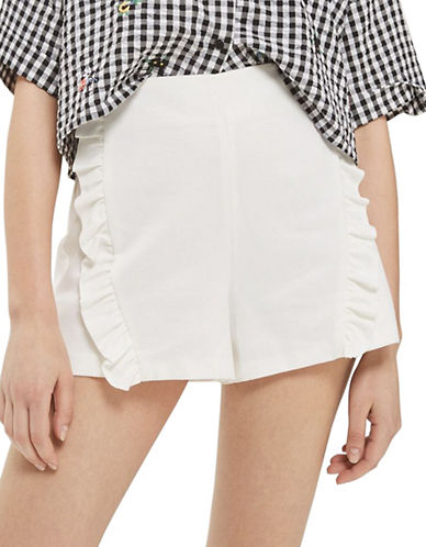 Topshop Ruffle Shorts-IVORY-UK 12/US 8