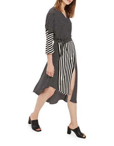 Topshop Spot Striped Wrap Dress-MONOCHROME-UK 8/US 4