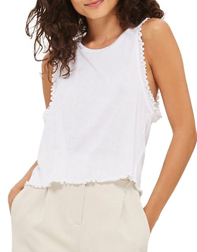 Topshop Frill Detail Tank Top-WHITE-UK 8/US 4
