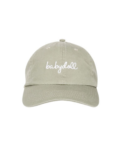 Topshop Babydoll Embroidered Cap-KHAKI-One Size