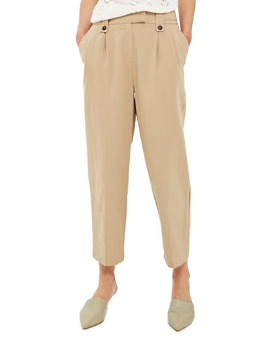 Topshop Button Tab Trousers-CAMEL-UK 6/US 2