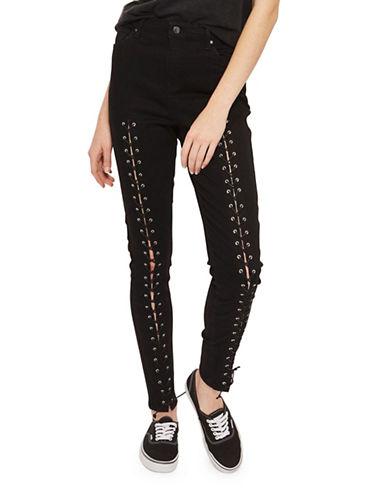 Topshop MOTO Front Lace Jamie Jeans 32-Inch Leg-BLACK-32X32