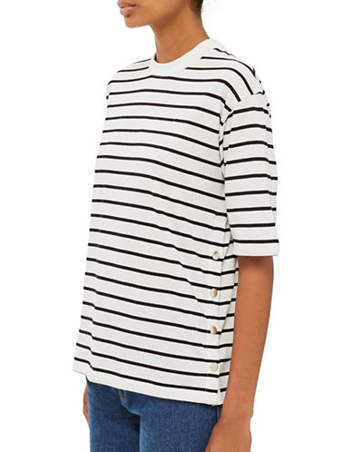 Topshop Popper Side Stripe T-Shirt by Boutique-MULTI-UK 8/US 4