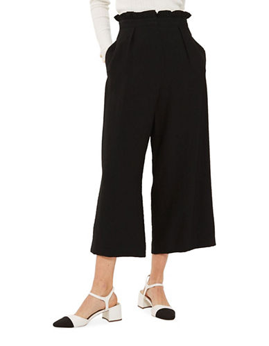Topshop Ruffle Waist Trousers-BLACK-UK 8/US 4
