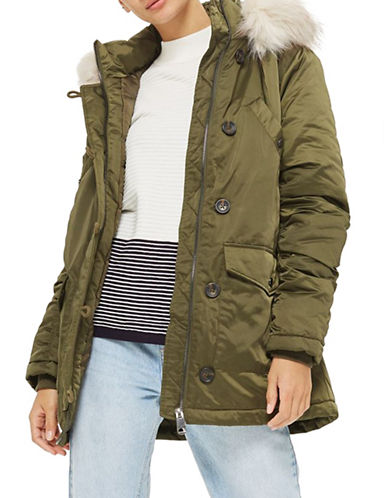 Topshop Shiny Parka with Faux Fur Trim-KHAKI-UK 12/US 8