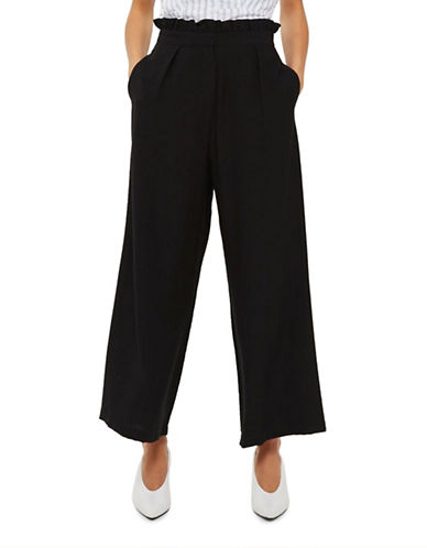 Topshop TALL Ruffle Waist Wide-Leg Trousers-BLACK-UK 10/US 6
