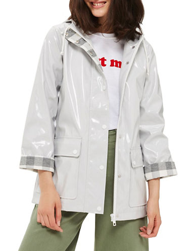 Topshop Vinyl Raincoat Mac-GREY-UK 8/US 4