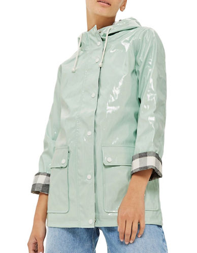 Topshop Vinyl Raincoat Mac-MINT-UK 8/US 4