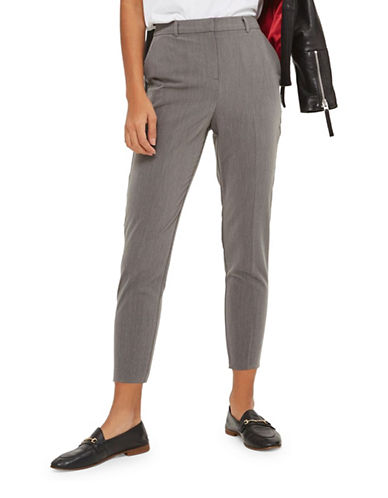 Topshop PETITE High Waisted Cigarette Trousers-GREY-UK 10/US 6