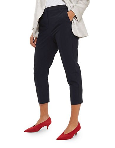 Topshop PETITE High Waist Cigarette Trousers-NAVY BLUE-UK 10/US 6
