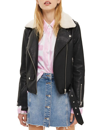 Topshop Columbo Faux Leather Biker Jacket-BLACK-UK 6/US 2