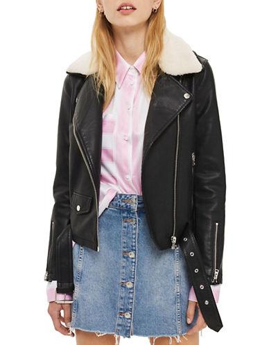 Topshop Columbo Faux Leather Biker Jacket-BLACK-UK 10/US 6