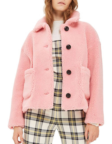 Topshop Cropped Button Borg Jacket-PINK-UK 14/US 10