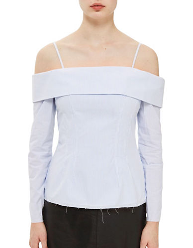Topshop Pinstripe Bardot Corset Top by Boutique-WHITE-UK 10/US 6