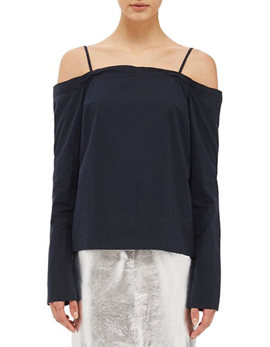 Topshop Cotton Tie-Back Top by Boutique-NAVY BLUE-UK 8/US 4