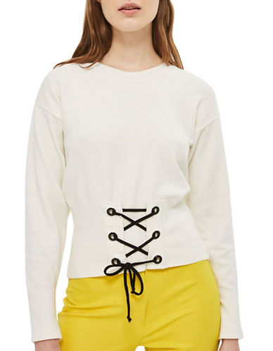 Topshop Corset Detail Knitted Sweatshirt-CREAM-UK 8/US 4