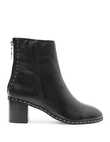 Topshop Miranda Leather Studded Ankle Boots-BLACK-EU 38/US 7.5