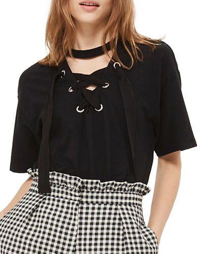 Topshop Lace Up Longline Tunic Top-BLACK-UK 6/US 2