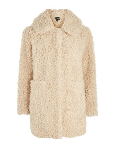 Topshop Curly Faux Fur Coat-CREAM-UK 14/US 10