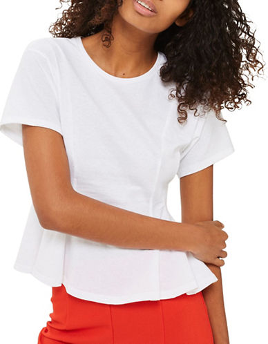 Topshop Corset Seam Tee-WHITE-UK 8/US 4