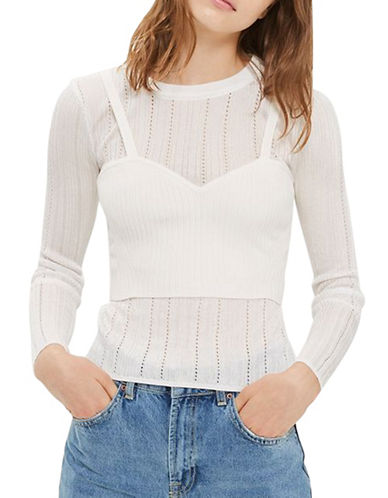 Topshop Corset Pointelle Top-IVORY-UK 8/US 4
