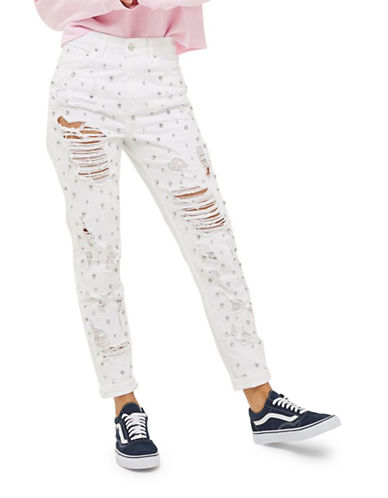 Topshop MOTO Limited Edition Gemstone Super Rip Mom Jeans 30-Inch Leg-WHITE-26X30