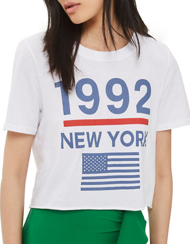 Topshop 1992 New York Cropped T-Shirt-WHITE-Large