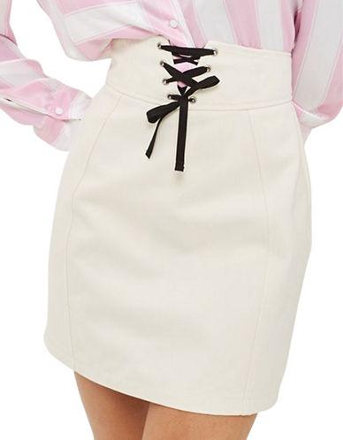Topshop Corset Lace-Up Skirt-IVORY-UK 8/US 4