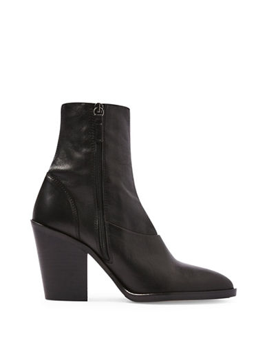 Topshop May Leather Sock Boots-BLACK-EU 38/US 7.5