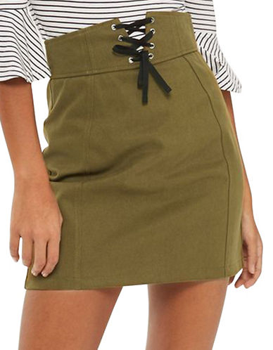 Topshop Corset Lace-Up Skirt-KHAKI-UK 10/US 6