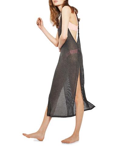 Topshop Rib Twist-Back Dress-GREY-Large 89350401_GREY_Large