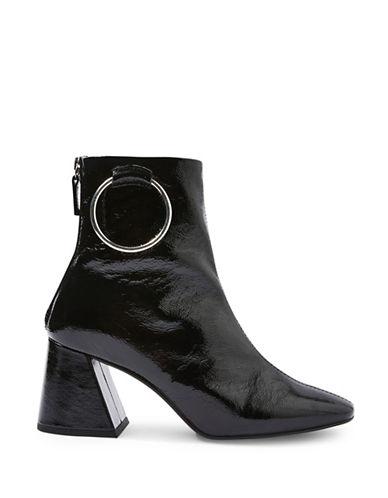 Topshop Hale Faux Patent Leather Ankle Boots-BLACK-EU 40/US 9.5