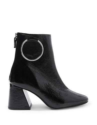 Topshop Mia Patent Leather Ring Boots-BLACK-EU 39/US 8.5